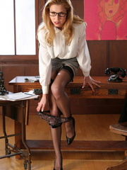Sexy blonde secretary in glasses - Sexy Women in Lingerie - Picture 8