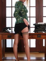Nasty blonde secretary in black - Sexy Women in Lingerie - Picture 2