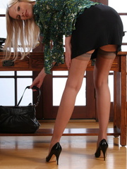 Nasty blonde secretary in black - Sexy Women in Lingerie - Picture 8
