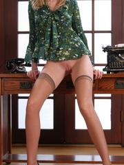 Nasty blonde secretary in black - Sexy Women in Lingerie - Picture 12
