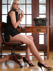 Blonde babe secretary in glasses - Sexy Women in Lingerie - Picture 2