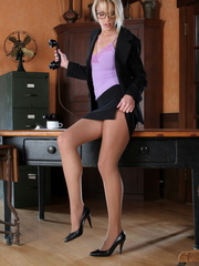 Blonde secretary in a purple top - Sexy Women in Lingerie - Picture 1