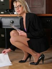 Blonde secretary in a purple top - Sexy Women in Lingerie - Picture 2