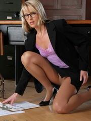 Blonde secretary in a purple top - Sexy Women in Lingerie - Picture 5