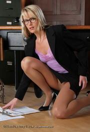 blonde secretary purple top
