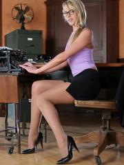 Blonde secretary in a purple top - Sexy Women in Lingerie - Picture 8