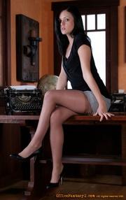brunette secretary girl laying