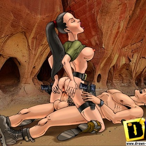 Big boobed toon babe Lara Croft gets both her holes reemed out hard.