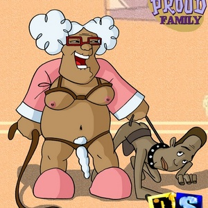 Horny old lady dominates and gonna whip young black dude.