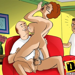 Slutty cartoon mom Peggy Hill rides her husband's rockhard pecker.