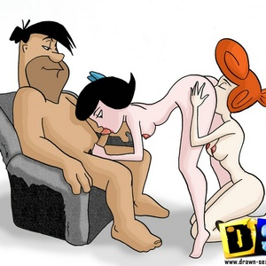 Horny toon Fred Flintstone fuck his friend's Barney sexy wife.