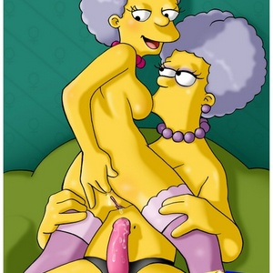 Cartoon sisters Selma and Patty Bouvier using strapon to fuck each oth..