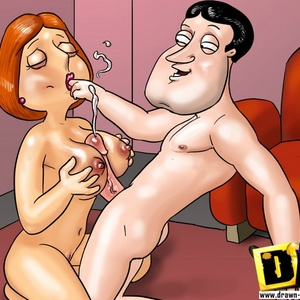 Slutty toon wife Lois Griffin gives an awesome titty fuck followed by ..