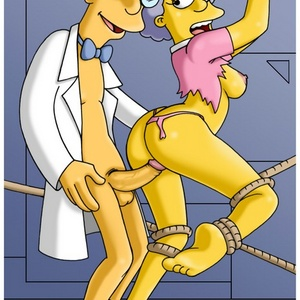 Sex hungry toon mom Marge Simpsons get her both holes fingered by Ned ..