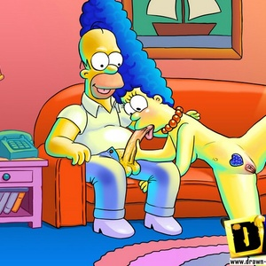 Slutty toon housewife Marge Simpson likes giving head to Homer.