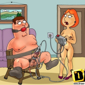 Poor cartoon housewife Lois Griffin get tied and dominated by her crue..