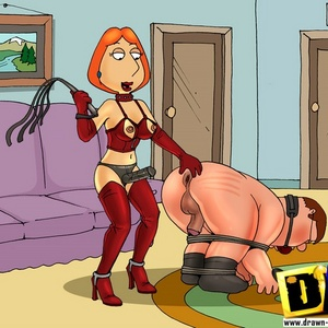 Strict cartoon mistress Lois Griffin wears strapon ang gonna fuck her ..