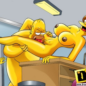 Toon mom Maude Flanders caught riding Homer's dick on the chair.