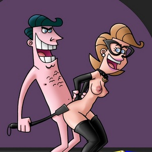 Collared perky tits cartoon wife get her ass whipped and pussy plowed.