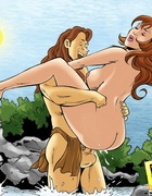 Muscular Tarzan discovers that he cannot resist the promiscuous female