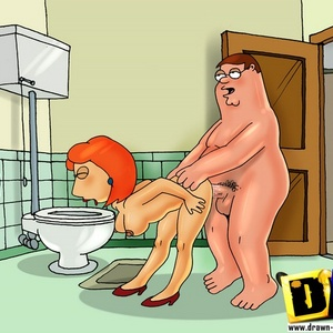 Redhead toon sexy babe Lois Griffin in dirty fuck action with her husb..