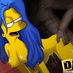 Toon lusty wife Marge Simpson gets her twat reemed out by huge black m..