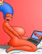 Cartoon Marge Simpson petting her pussy while…