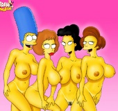 Simpsons women have collected to have some fun with their plump breasts