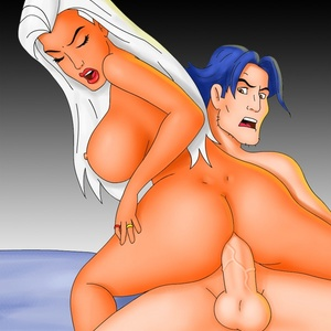 Cartoon babe Storm gets thick cock deep in her brown hole.