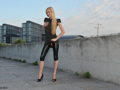 Nasty blonde chick in latex pants with a - XXX Dessert - Picture 1