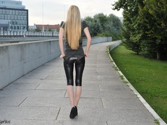 Nasty blonde chick in latex pants with a - XXX Dessert - Picture 2
