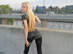 Nasty blonde chick in latex pants with a - XXX Dessert - Picture 10