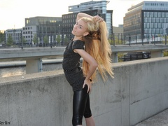 Nasty blonde chick in latex pants with a - XXX Dessert - Picture 11