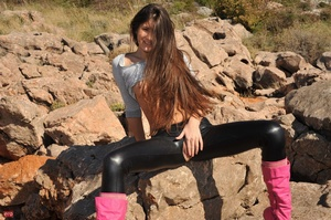 Sweet log-haired teen in leggings and ju - XXX Dessert - Picture 7