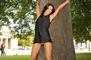 Sexy brunette teen in a black short dres - XXX Dessert - Picture 8