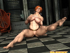 Wonderful ginger whore with steel muscles posing in - Picture 3