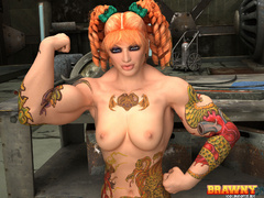 Short-haired blonde bodybuilder drilling her hairy - Picture 1