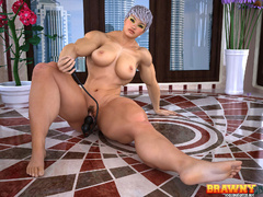 Short-haired blonde bodybuilder drilling her hairy - Picture 3