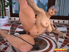Short-haired blonde bodybuilder drilling her hairy - Picture 4