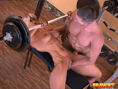 Blonde bitch with big muscles gets her pumped cunt - Picture 4