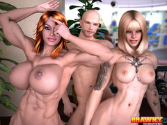 Lucky bald dude is happy to pound blonde and ginger - Picture 2