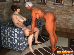 Swarthy short-haired blonde fingering her red - Picture 2