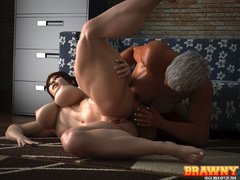 Swarthy short-haired blonde fingering her red - Picture 4