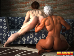 Swarthy short-haired blonde fingering her red - Picture 6