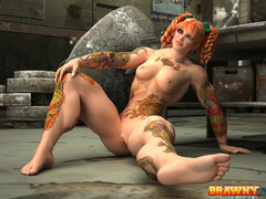 Awesome red bitch with plaits and color tattooed - Picture 3