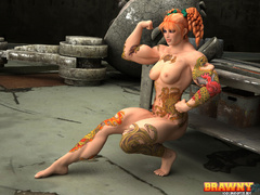 Tattooed ginger bodybuilder posing to demonstrate the - Picture 6