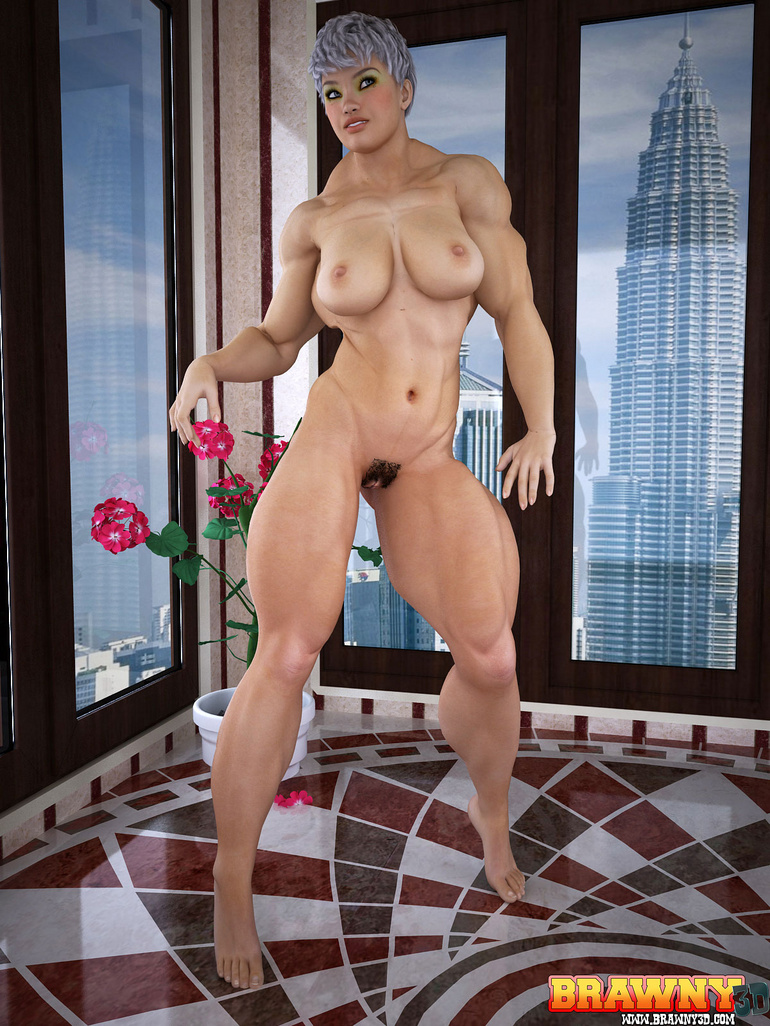 Busty short-haired blonde bodybuilder pleasing her - Picture 1