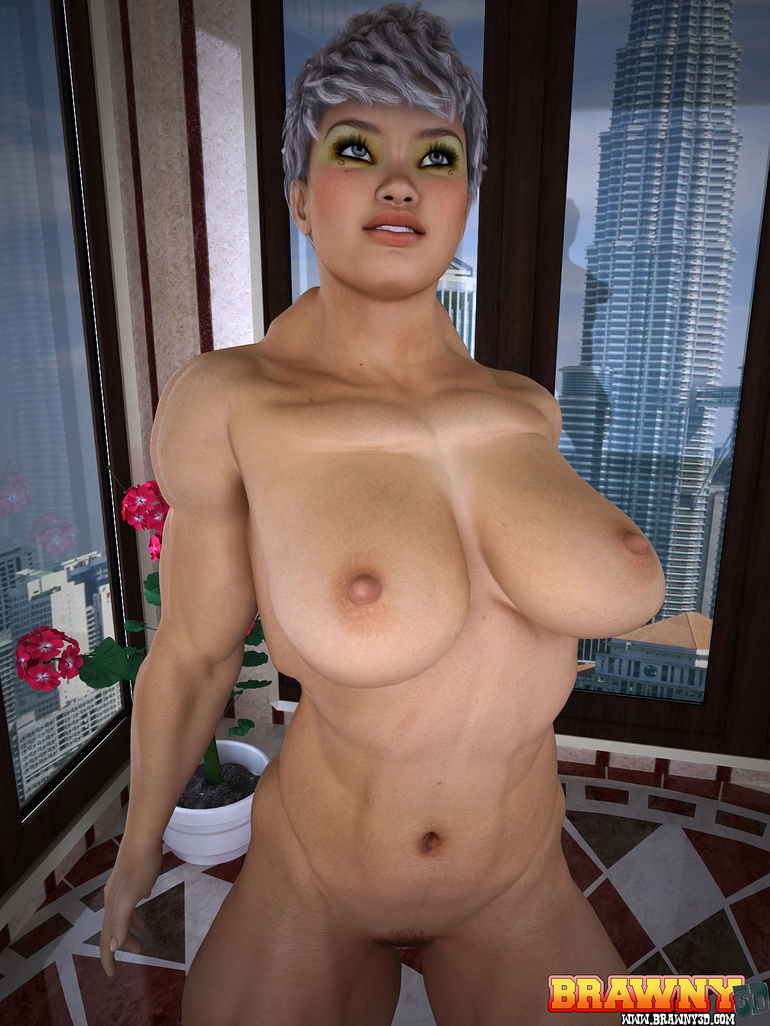 Busty short-haired blonde bodybuilder pleasing her - Picture 4
