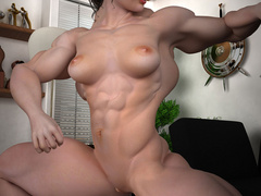 Ponytailed brunette babe with huge firm muscles - Picture 7