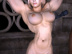 Blonde bitch with big muscles fingering her black - Picture 9